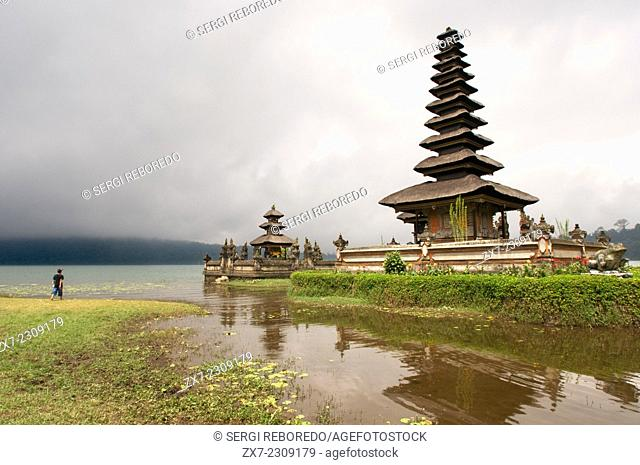 Bali Temple On A Lake Pura Ulun Danu Bratan Indonesia. Pura Ulan Danu Bratan Temple in Bedugul. It was built in 1633 by the King of Mengwi in honor of the deity...