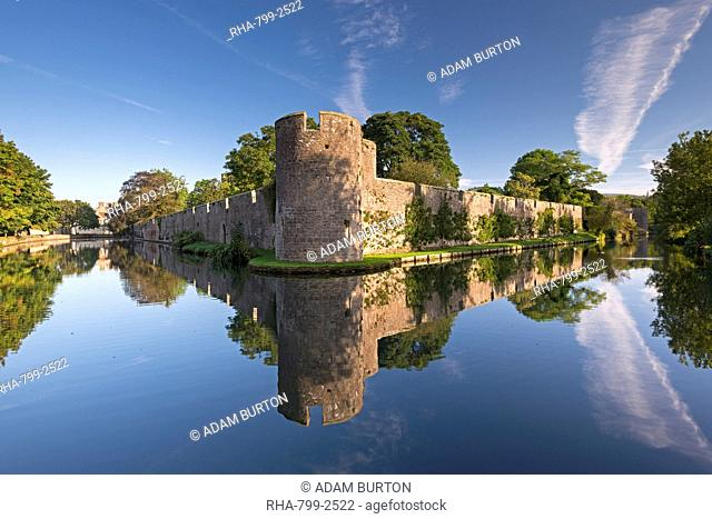 The Bishop's Palace and moat in the city of Wells, Somerset, England, United Kingdom, Europe