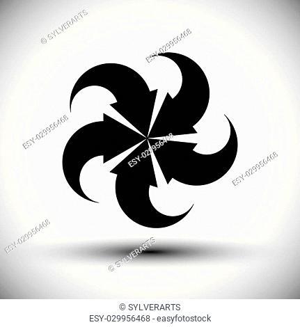Five arrows loop conceptual icon, special abstract new idea vector symbol