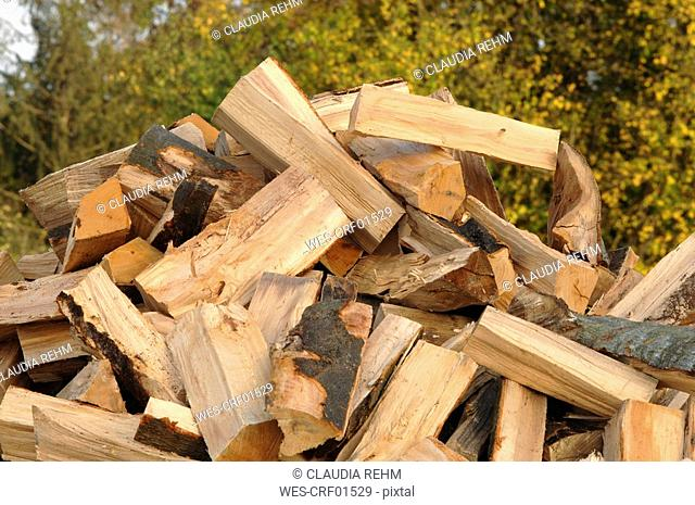 Pile of Firewood, close-up