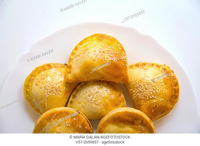 Small pasties, typical Spanish tapa. Close view