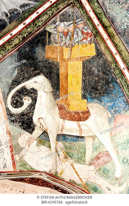 Gothic fresco, Eleazar Awaran kills the War Elephant Soliman and is crushed it, 3. Cloister, Cathedral, Brixen, South Tyrol, Italy