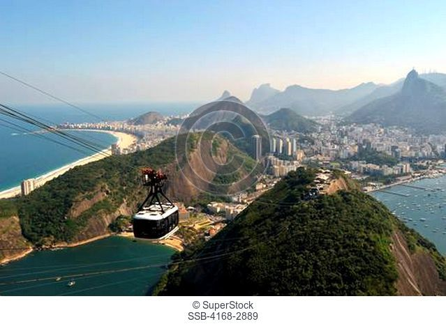 Brazil, Rio De Janeiro, View From Sugarloaf Mountain Towards Corcovado Right, Vermelha Beach Below And Copacabana Beach Left, Cabel Car