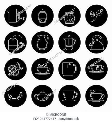 Tea thin line vector icons set in black and white. Cup with black coffee and tea illustration