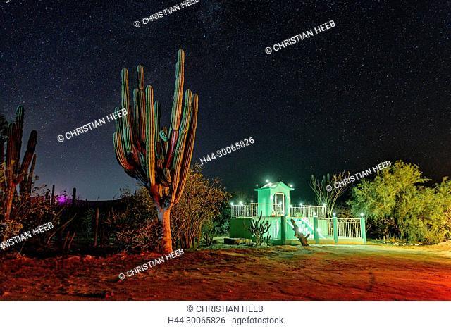 Central America, Mexico, Baja California, Sea of Cortez, shrine and cactus
