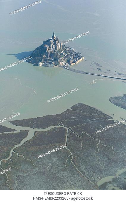 France, Manche, Mont Saint Michel listed as World Heritage by UNESCO, Mont Saint Michel during the high tide of the century (aerial view)
