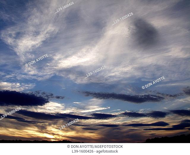 Clouds in the sky at sunset in Amherst, MA, USA