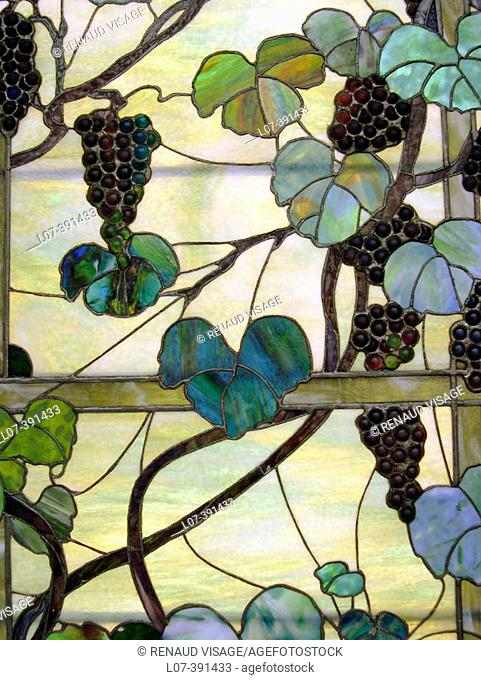 Detail of Tiffany stained glass. Metropolitan Museum of Art. New York City. USA