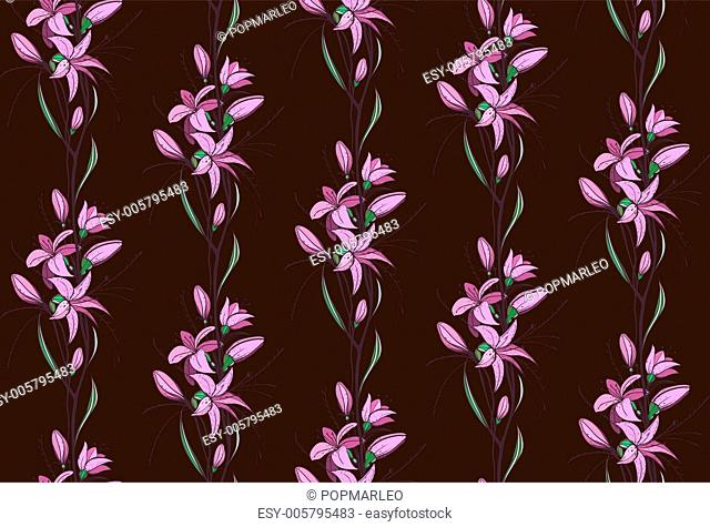 Lily Flowers Seamless Pattern on Dark Background