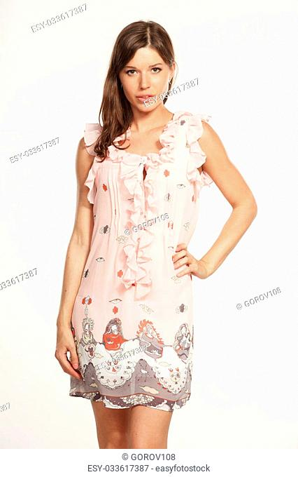 Beautiful woman in stylish clothes on white background