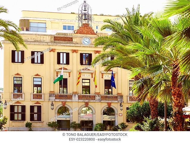 Ayuntamiento Lloret de Mar at Verdaguer passeig promenade City Hall Costa Brava of Catalonia Spain