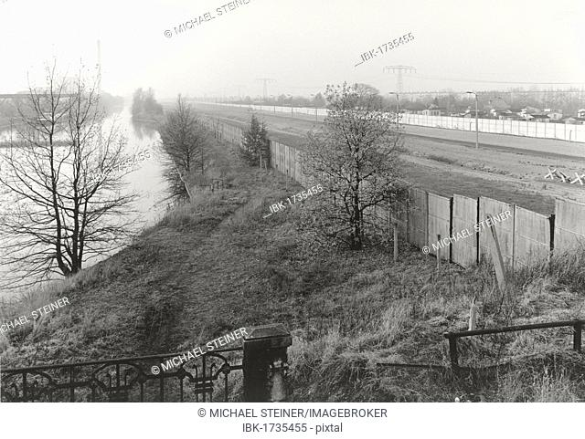 View over the Berlin Wall in 1985, panorama of the inner German border, known as the Death Strip, canal and fields in the autumn mist, Berlin, Germany, Europe