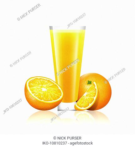 Fresh oranges and glass of juice
