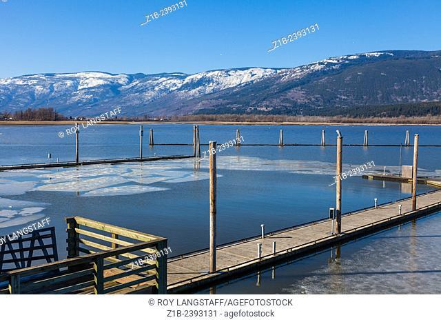 Last of winter ice on Shuswap Lake in Salmon Arm, British Columbia, Canada