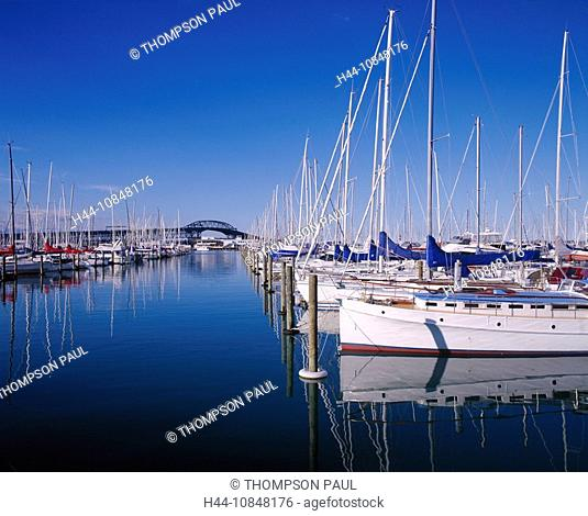 Auckland, yacht, sail, boats, marina, harbor, harbor, road, bridge, North Island, New Zealand, travel, holiday, vacati