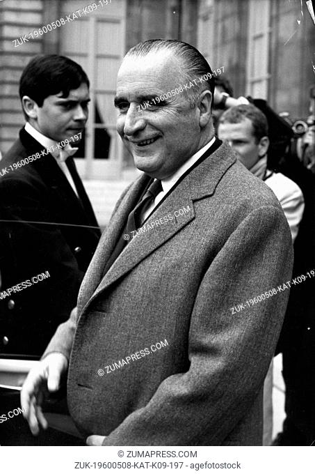 May 8, 1960 - Location Unknown - GEORGES POMPIDOU (1911-1974) was a French politician who served as the Prime Minister of France and later President of the...