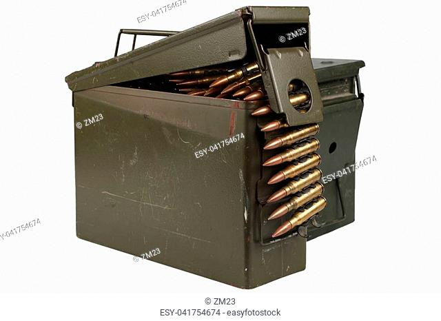 Ammo Can with ammo and ammunition belt isolated on white background