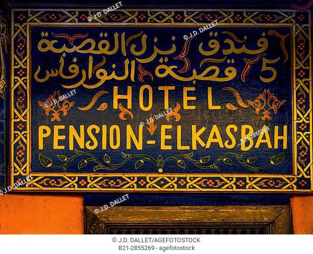 "Morocco, Fes, Hotel sign in the """"Medina"""" (old part) of Fes"