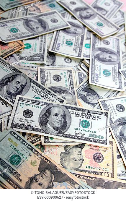 Dollar bank notes many banknotes bills American currency