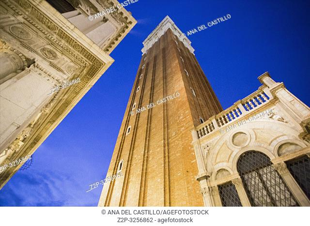 Venice, Veneto, Italy : Twilight at Saint Marks square. The campanile