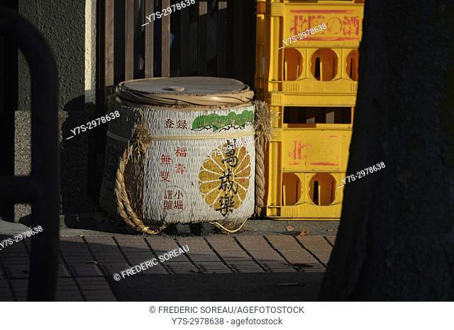 Sake barrel in the old town of Kanazawa, Japan, Asia