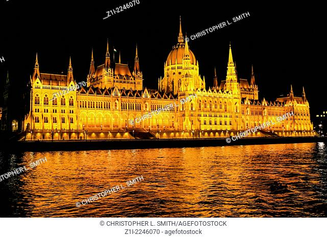The Parliament building at night in Budapest Hungary