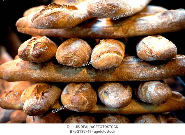 Pile of baguettes in a bakery