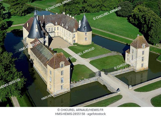 France, Cote d'Or, Commarin, the castle (aerial view)