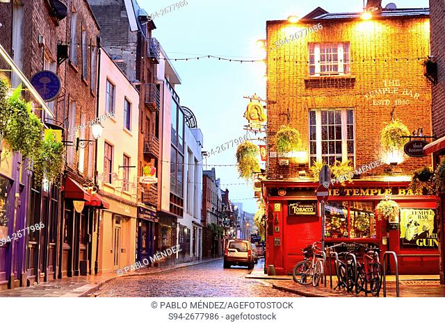 Temple Bar street in Temple Bar neighborhood, Dublin, Ireland