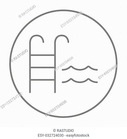 Swimming pool with ladder line icon for web, mobile and infographics. Vector grey thin line icon in the circle isolated on white background