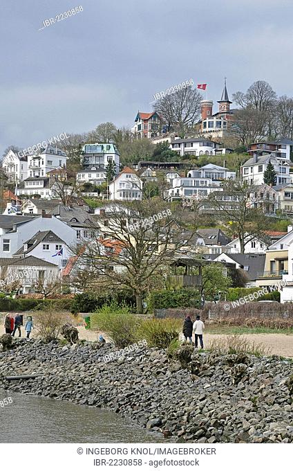 Suellberg hill, Blankenese district on the Elbe river, Hamburg, Germany, Europe