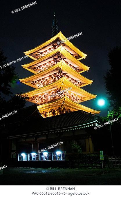 Japan, Tokyo, Asakusa, Senso-ji Temple, Five-story pagoda