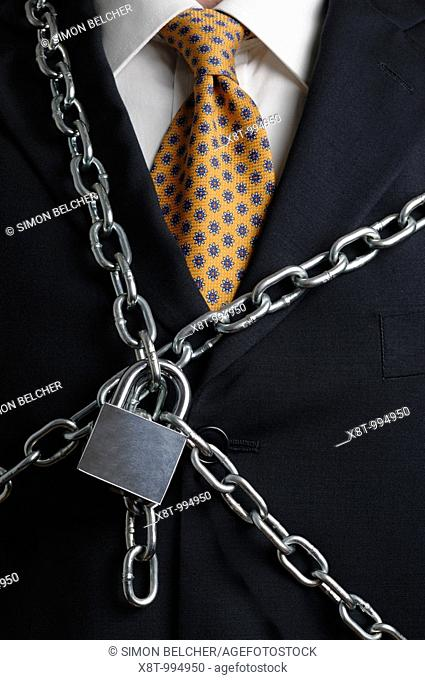 Chained Businessman, Close Up