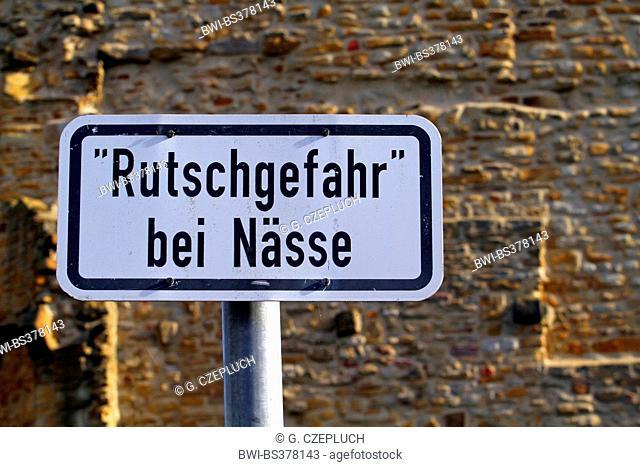 danger sign 'slippery when wet', Germany