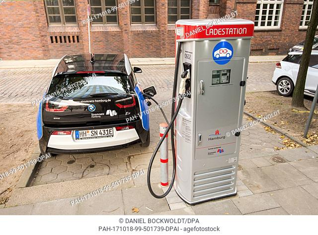 An electric vehicle at the 600th charging station for electric vehicles shows the lading status in Hamburg, Germany, 18 October 2017