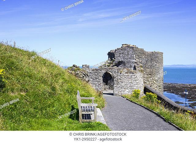Castle ruins in Aberystwyth Ceredigion Wales UK