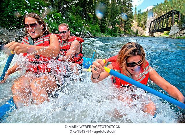 Whitewater rafting the Cabarton section on the North Fork of the Payette River near the city of Cascade in central Idaho