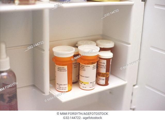 Prescription drugs in medicine cabinet