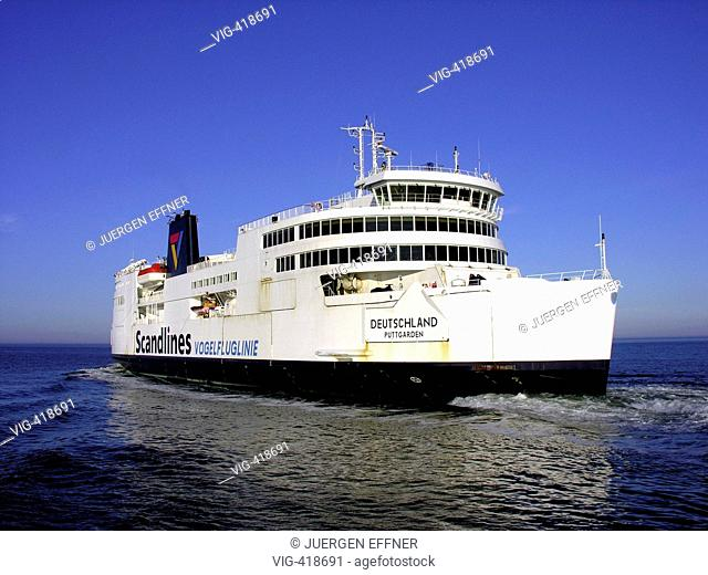 The ferry Vogelfluglinie of the ocean carrier Scandlines enters the Puttgarden harbour on Fehmarn. From there it drives to Rodby, Denmark
