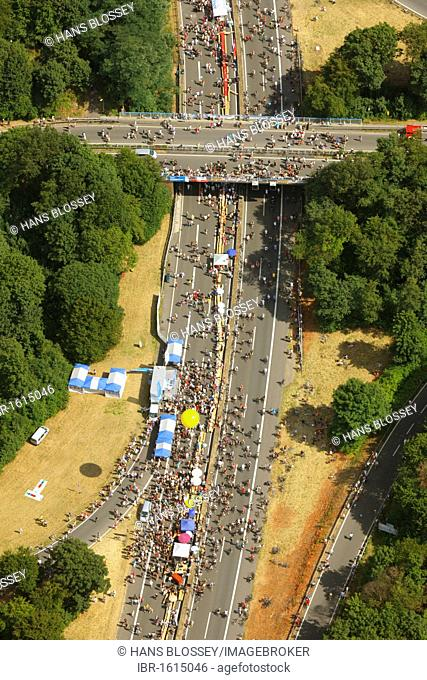 Aerial view, RUHR.2010 Action Still-life on the A 40, Bochum, Ruhr Area, North Rhine-Westphalia, Germany, Europe
