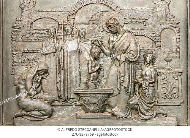 ancient bas-relief depicting the baptism of Christ