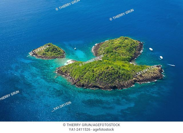 France. Guadeloupe, Bouillante, Cousteau reserve, ilets a Goyaves and Pigeon aerial view