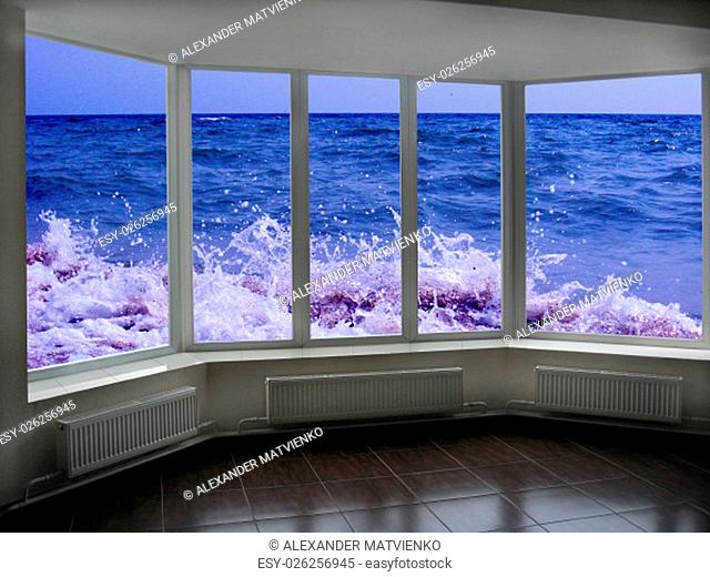 window with beautiful view of marine waves