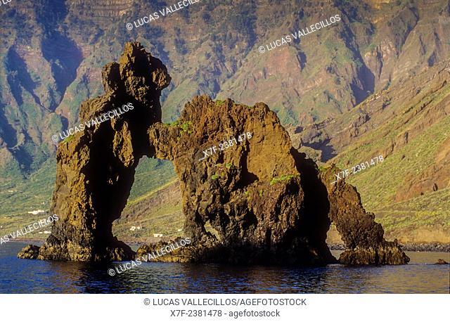 The stone arch Roque de la Bonanza, El Hierro, Canary Island, Spain, Europe
