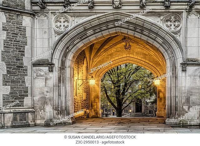 Princeton University Blair Hall Arch - A view to the illuminated Collegiate Gothic architecture style of Blair Hall Clock Tower Arch