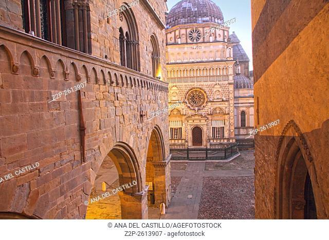 Colleoni chapel by dusk in Upper city Bergamo-Italy