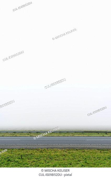 Motorway in heavy fog, Arnemuiden, Zeeland, Netherlands
