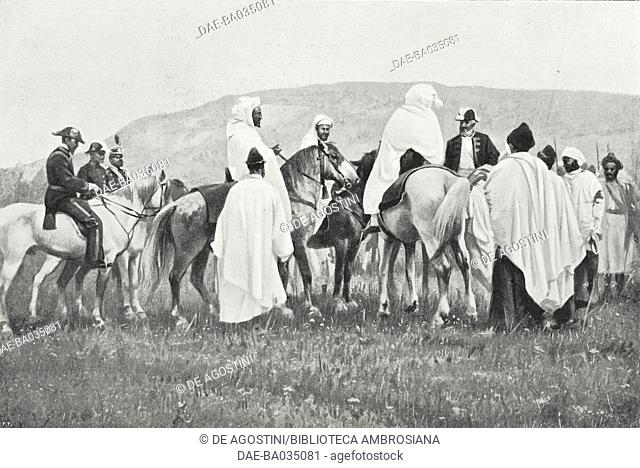 The Moroccan government meeting the delegation outside the city gates, Giulio Malmusi's Italian delegation in Fez for the Algeciras Treaty, June 8- July 9 1906