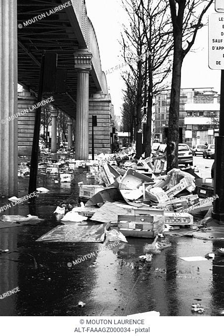 France, Paris, piles of trash next to street