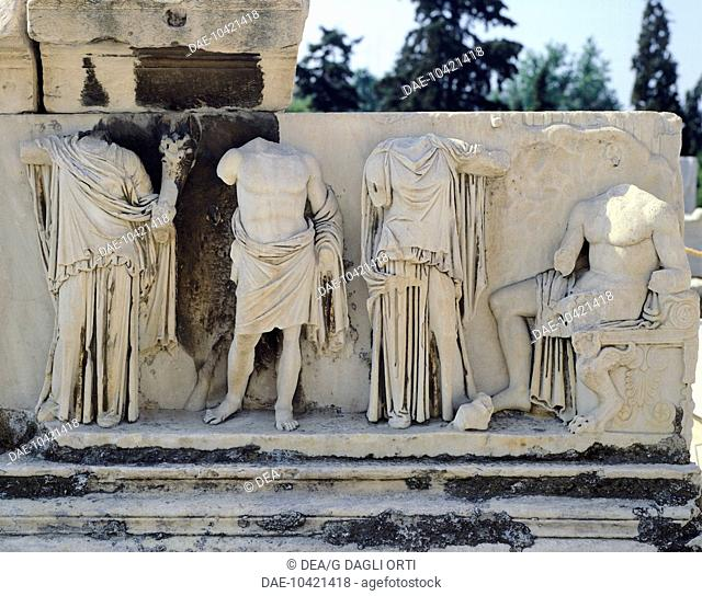Statues of the proscenium of the Dionysus theatre at the Acropolis in Athens (Greece). Greek Civilization, 4th Century BC-2nd Century AD
